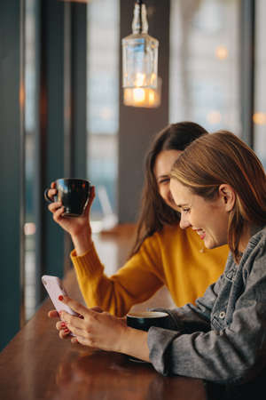 Two women using mobile phone while drinking coffee at cafe. Females spending their free time at coffee shop. Banque d'images