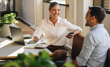 Businesswoman sitting at desk and explaining new project to coworker. Mature woman discussing working with partner in coworking office. Stok Fotoğraf