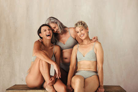 Cropped shot of three confident and carefree women embracing their aging bodies. Diverse women in underwear smiling and embracing each other against a studio background. Banque d'images