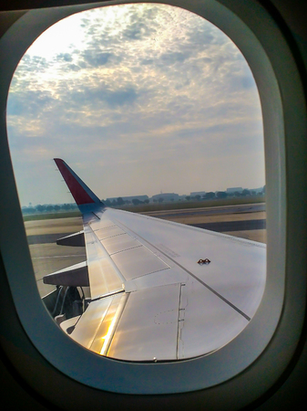 Aircraft Wing From the windows in the plane | Travel holiday business