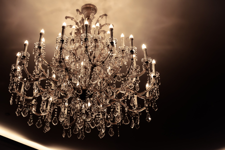 Luxury crystal chandelier vintage style as gold concept