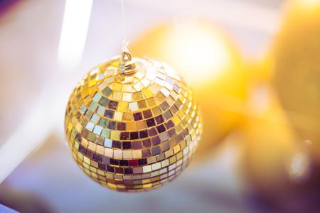 Gold shiny balls decoration of celebration winter season