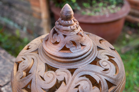 Earthenware of Thailand as outdoor decoration antique traditional.