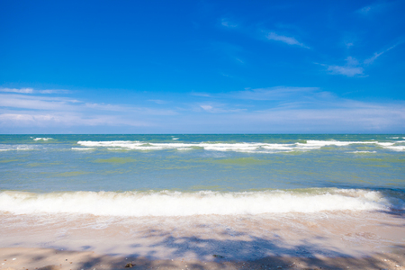 Blue sea with clear sky | Beautiful natural landscape background | Ocean and beach in Thailand Stock Photo