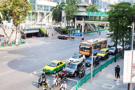 BANGKOK, THAILAND - March 15, 2018: Bangkok traffic near Central World Ratchadamri Road