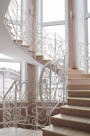 footrest: wrought iron railings at the stairs