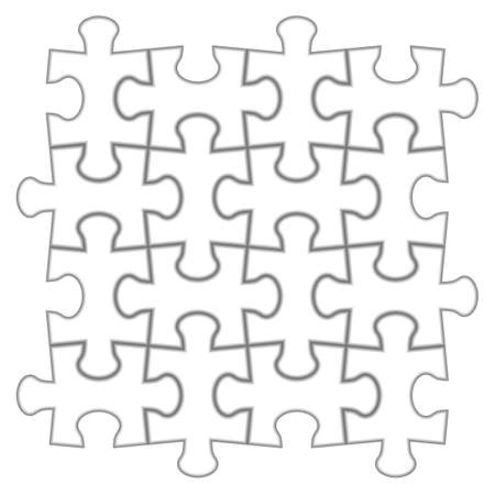 4x4: Puzzle 4x4. illustration of white puzzle, separate pieces. Illustration