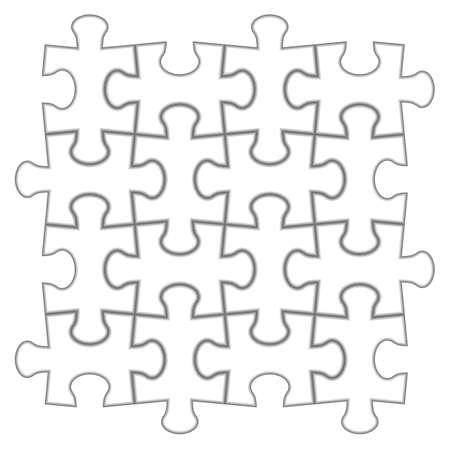 4x4: Puzzle 4x4. illustration of white puzzle, separate pieces. Illustration