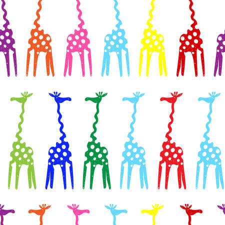Black and white vector illustration of a giraffe on isolated backgroundColored seamless pattern with giraffe in full growth Stock Illustratie