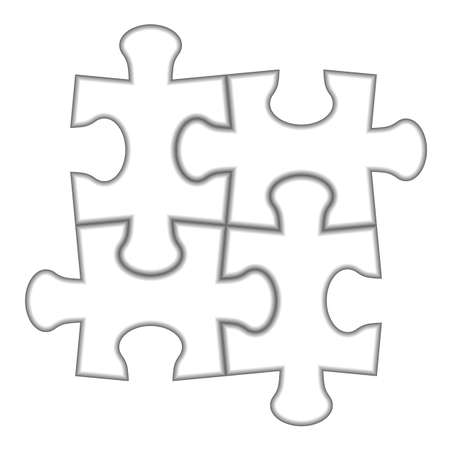 individual color: Puzzle 2x2. Vector illustration of white puzzle, separate pieces.