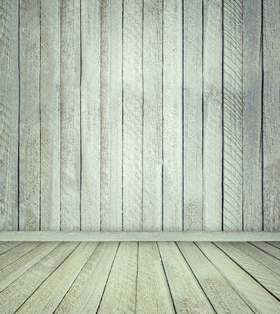 wooden floors: Empty bright interior of vintage room without ceiling, with wooden floors and walls.