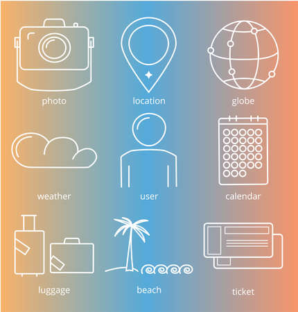 date palm: Travel icons on color gradient background illustration