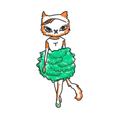 summer clothes: illustration of a fashionable cat in a dress. Hipster in summer clothes. Illustration