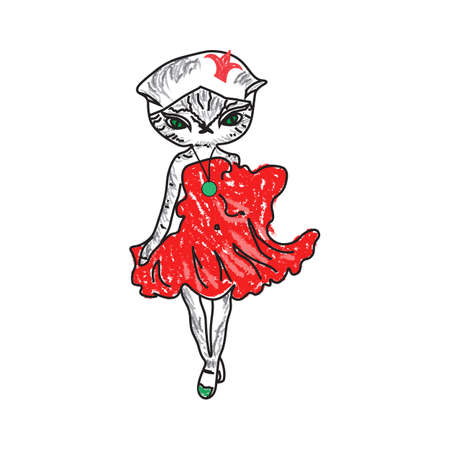 retro fashion: illustration of a fashion cat in red dress. Princess Illustration