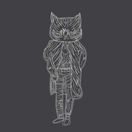 cat suit: illustration of a white cat in a fancy suit on a black background. Image of the strokes and lines. Like drawing with chalk. Illustration