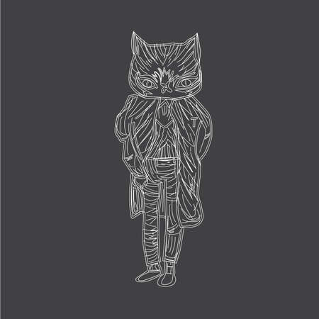 simulations: Vector illustration of a white cat in suit on black background. Image of the strokes and lines. As chalk paint