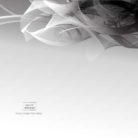 Monochromatyczne tło z falistymi liniami i abstrakcyjnymi formami.