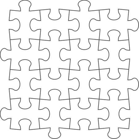 4x4: jigsaw puzzle blank template of a simple 4x4. White with a black outline