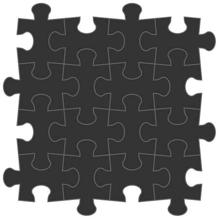 4x4: jigsaw puzzle blank template of a simple 4x4. Black on a white background Illustration