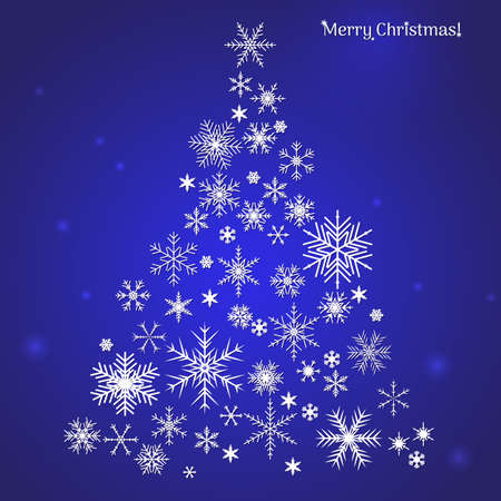 White snowflake Christmas tree on a blue background. Christmas vector card 向量圖像