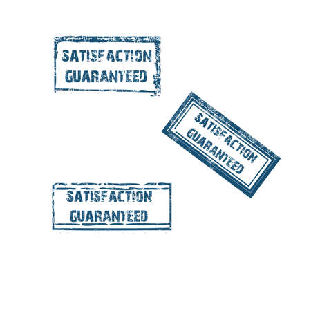 stamp collection: satisfaction guaranteed stamp collection in blue. Vector illustration
