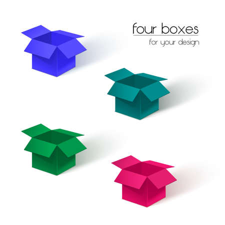 Four open colored boxes on a white background. Vector illustration. Illustration