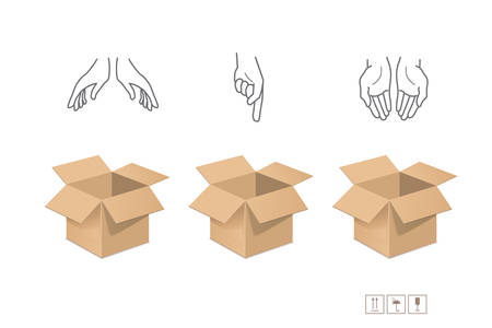 stockpile: Cardboard boxes for packaging and storage Illustration