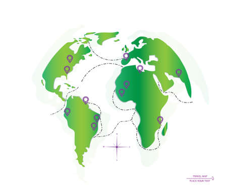 traffic pole: World map routes and location. Icon planet Earth. Vector illustration. Illustration