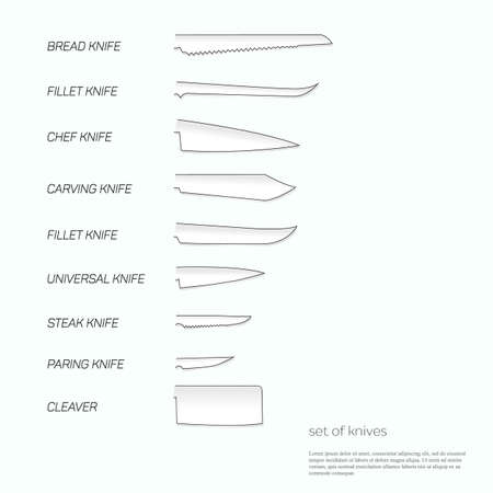 kind of diagram: Kitchen knife set with signature names.