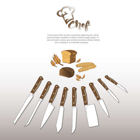 Illustration of a set of kitchen knives and bread products