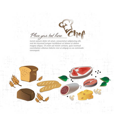 Illustration meat products, cheese, fish. Knife set chef