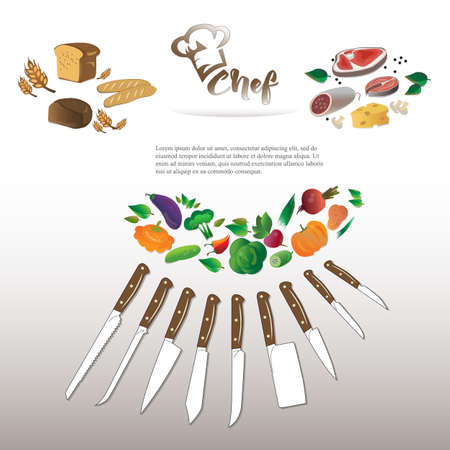 Illustration of vegetables, meat products and bakery products. Knife set chef Illustration