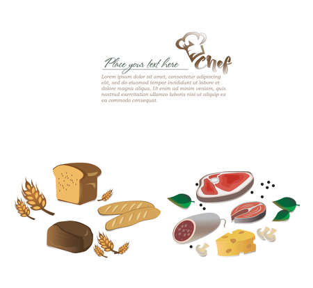 Illustration meat products and bakery products. Hat chef Illustration