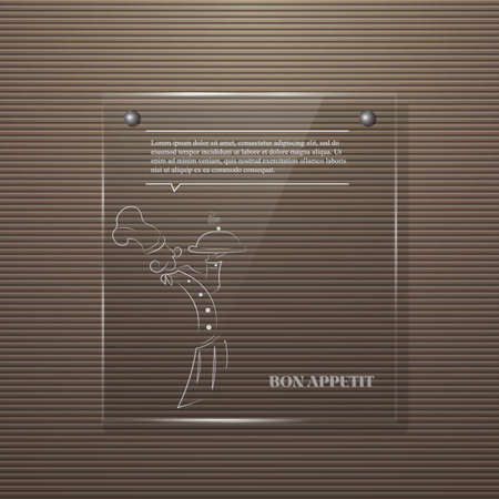Metal background with glass panel. Glass frame for your design menu, logo chef Illustration