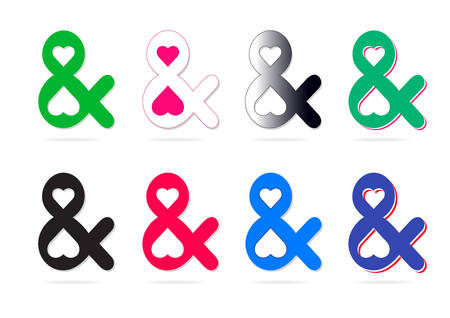 Elegant and stylish custom ampersands your design. Set icons of ampersand. Vector illustration
