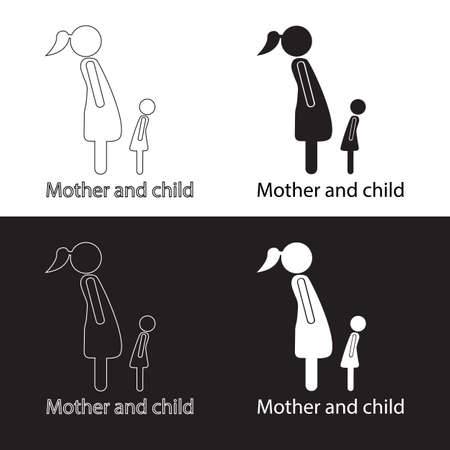 baby and mother: Icons mother and child black-white