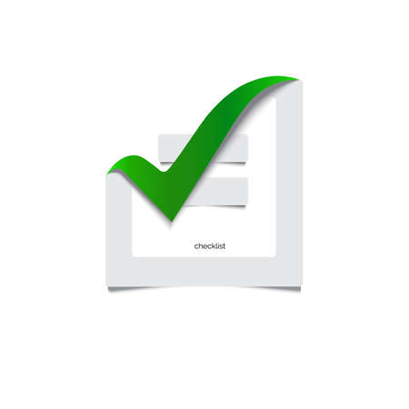 Checklist. Sign with a green checkmark. Yes, checked, the vote vector illustration. 3D Stock Vector - 82156052