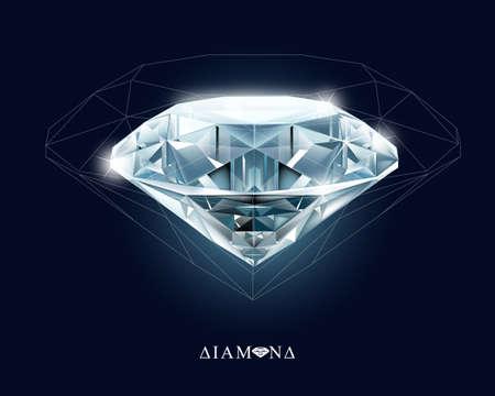 Diamonds, jewelry, gemstone. Isolated vector illustration on black background