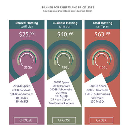 Banner for tariffs, a set of pricing tables Stock Photo