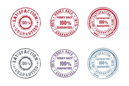 Set van 6 ronde oude postzegels Stock Illustratie