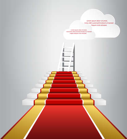 Red carpet event, with white marble stairs and gold queue rope barriers posts stands realistic vector illustration. Moving up to the clouds Stock Photo