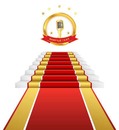 Gold microphone musical ceremony and red carpet for awards.