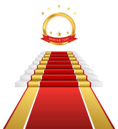 Awards ceremony on the red carpet. Empty gold emblem for your text Illustration