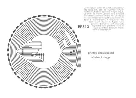 Vector circuit board circle, digital technologies abstraction. Gray computer microprocessor scheme, futuristic design. 向量圖像