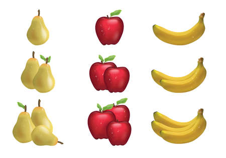 Realistic set of ripe banana fruit, Apple, pear isolated on white background. Gradient meshes were used to create a three-dimensional effect. Collected in a kit, or one