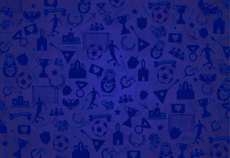 Background with Russian drawings, elements, patterns, blue Wallpaper .The theme is the football championship of 2018