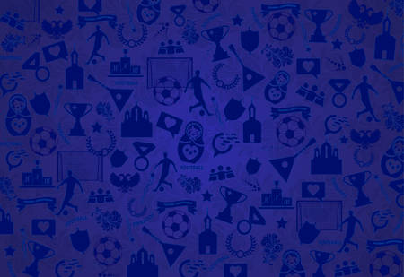 Background with Russian drawings, elements, patterns, blue Wallpaper .The theme, the football championship of 2018