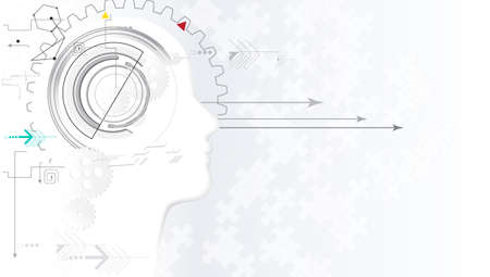 Virtual concept. Artificial intelligence. Human face. Technology web background