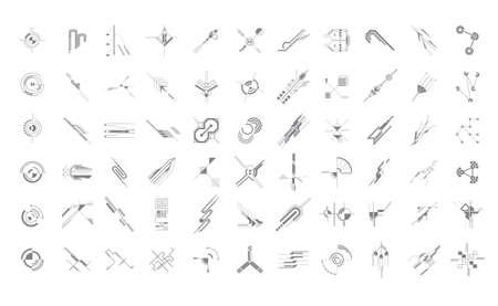 Set futuristic hi-tech ui elements 向量圖像