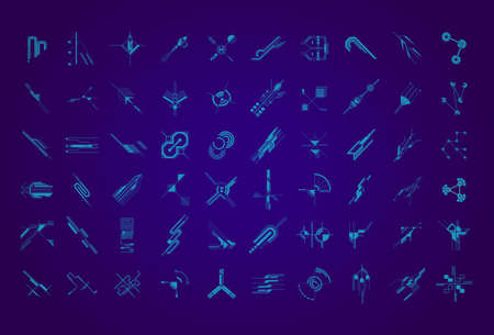Set of abstract hud elements on futuristic blue background. Science and technology concept. Futuristic vector. High tech motion design, interfaces, connecting systems.